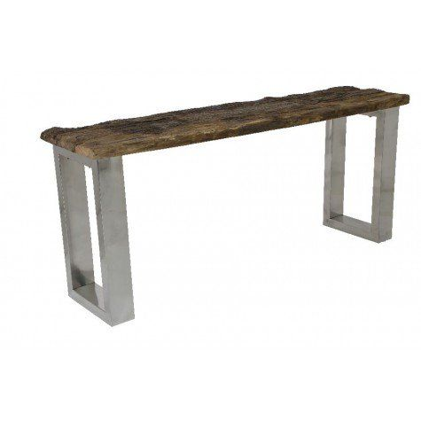 """RAILWAY Side Table w/Steel Legs,71x16x30""""H - Light & Living"""