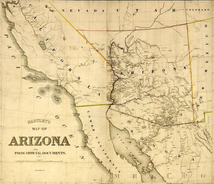 This is an image of Hartley 39 s Map of Arizona Territory from 1865 It show