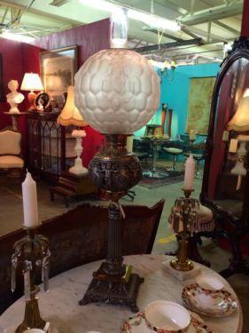 "Victorian Oil Lamp   36"" Tall  $559  Butler Creek Antiques Dealer #8804  Lucas Street Antiques 2023 Lucas Dr. Dallas, TX 75219"