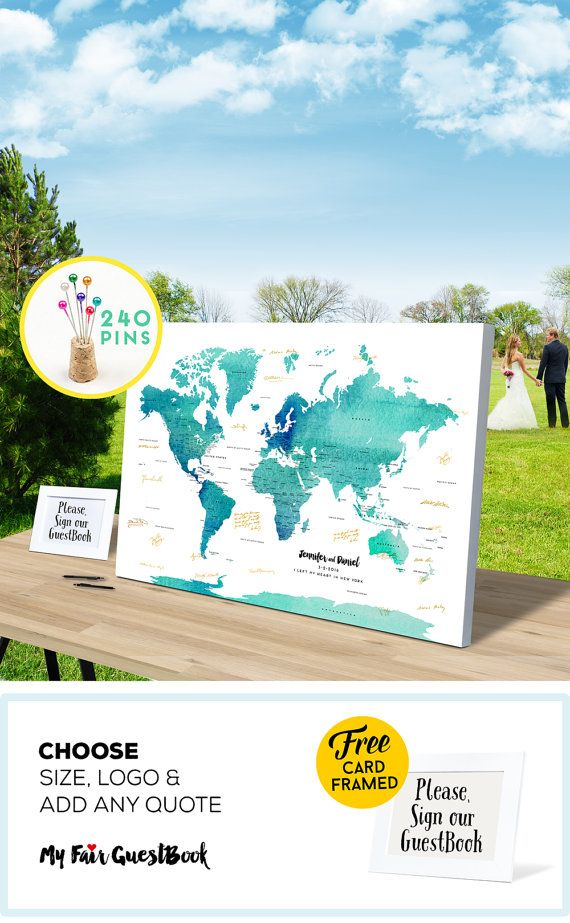 Alternative Wedding Guest Book Map CANVAS by MyfairGuestBook