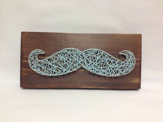 Mustache hipster, moustache of string art wooden for home and wall decor. Art for wall decor whisker string art wall art. brown / blue