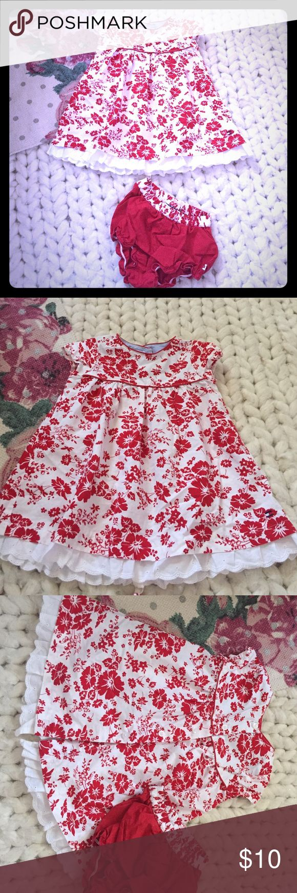 Red/White Floral Trapeze Buttonback Dress Adorable red and white floral dress by Tommy Hilfiger; button back, cap sleeves, eyelet detailing at the hem and sweet matching diaper cover red under pants with contrast trim. Perfect condition. 3/6 months; my tiny preemie didn't reach the right size until those cold winter months. This outfit is too cute to resist! Tommy Hilfiger Dresses Casual