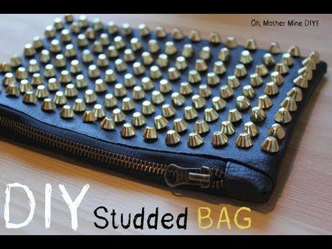 DIY Bolso de mano de cuero negro con tachuelas / DIY Studded bag