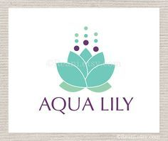 Custom Business Logo Design OOAK with Web Banner Design - Aqua Lotus Lily Logo By ReaniDesigns on Etsy