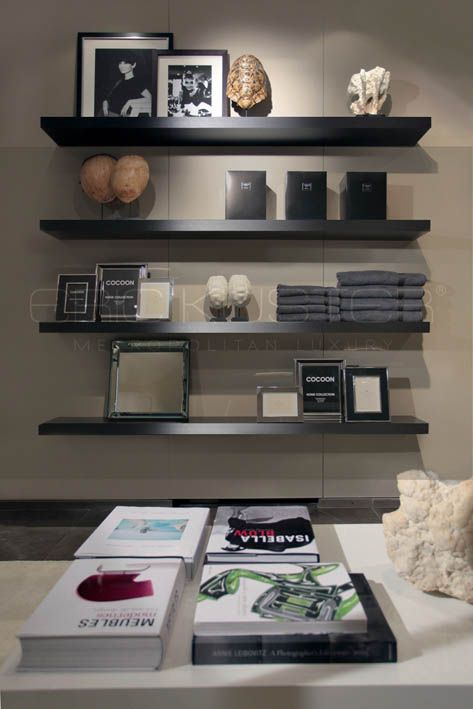 simple floating shelves in black - Eric Kuster Showroom Antwerp #interior #design