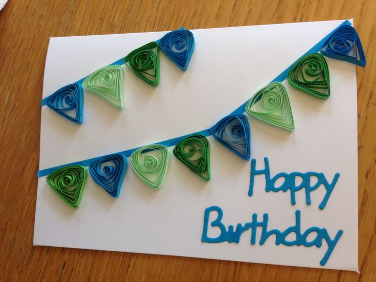 Quilled bunting birthday card