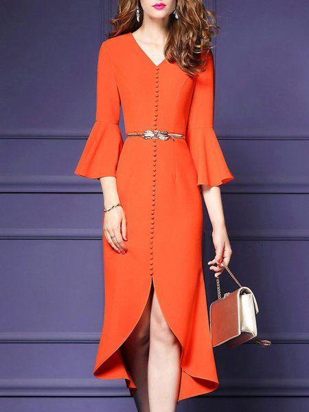 Shop Work Dresses - V Neck Bell Sleeve Elegant Flounce Solid Work Dress online. Discover unique designers fashion at StyleWe.com.
