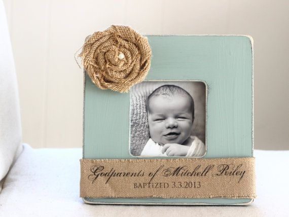 baptism christening gift for godparents custom personalized burlap picture frame