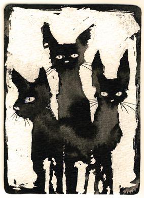Ink Cat 3 by Myrntai.deviantart.com on @deviantART