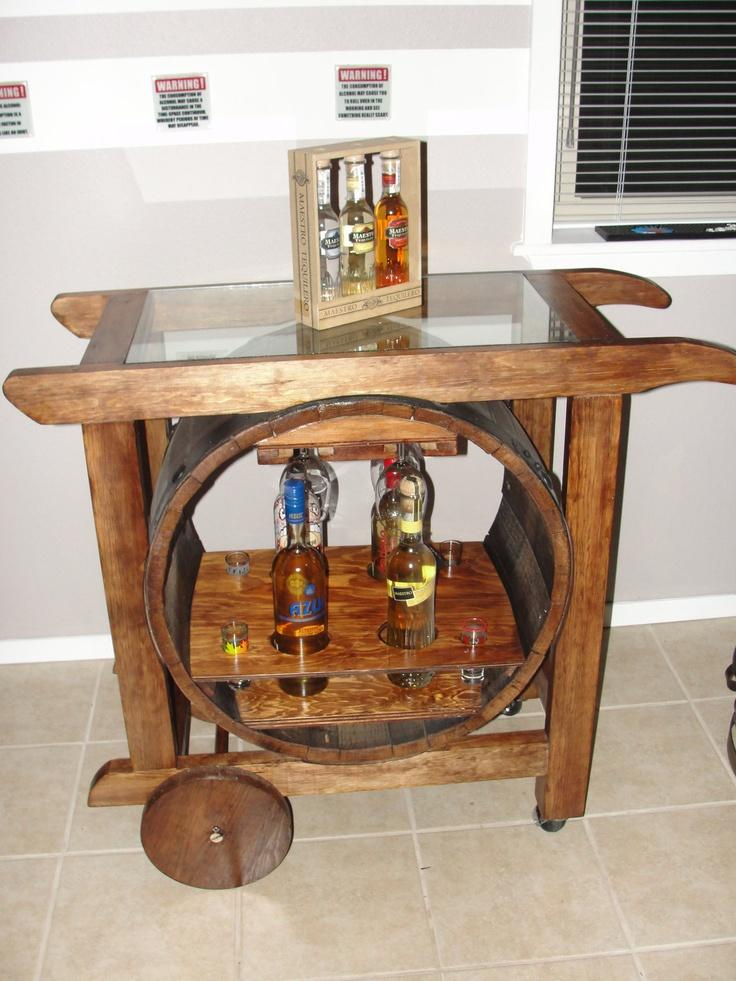 Barrel Bar Cart 499 00 Via Etsy