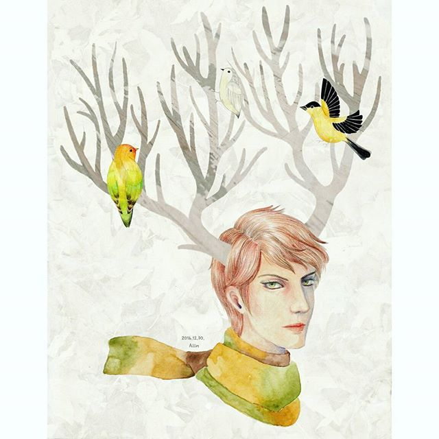 Winter man3 : deer boy and missing autumn  #illustration #deer #drawing #winter #birds #watercolor #autumn #digitalart #일러스트 #일러스트레이션 #드로잉 #그림