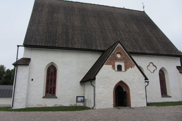 Porvoo cathedral in Finland. The roof of the church was completely destroyed by fire in May of 2006.