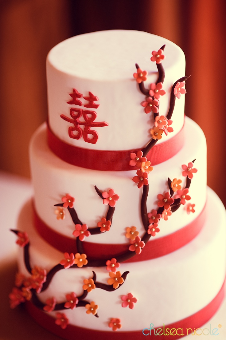 cherry blossom wedding cake by Peridot Sweets