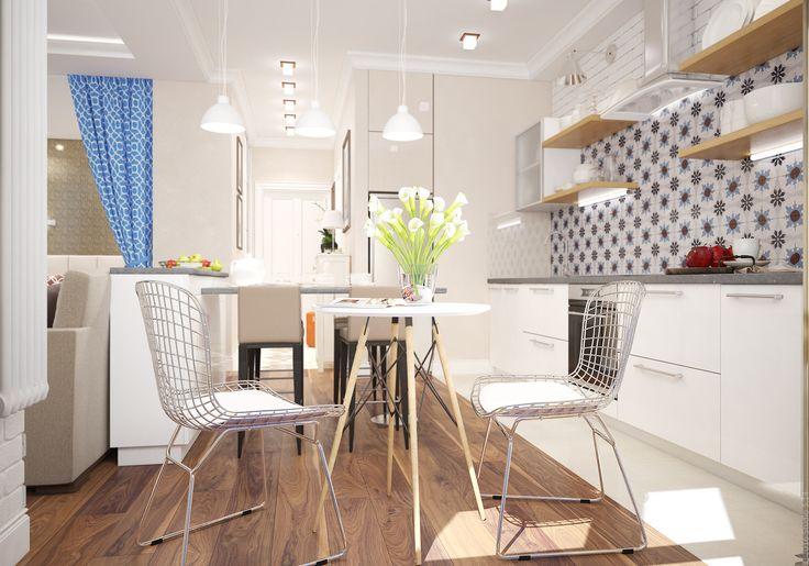 Два разных места для приема пищи - стол-бар с высокими стульями и кофейный столик в стиле ретро.