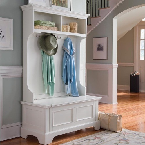 Hall Tree Coat and Hat Rack with Bench Storage White Wood Finish | eBay #halltree #coatrack #storage http://stores.ebay.com/jodezegiftsnmore I love love love this, looks so springy Auction ends Soon