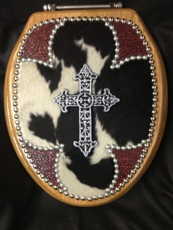 Yes, i'm aware that this is a toliet seat cover.....BUT I WANT IT!!!!!!!!  CHRISTIAN COWBOY TOILET SEAT | Western Decor by Signature Cowboy