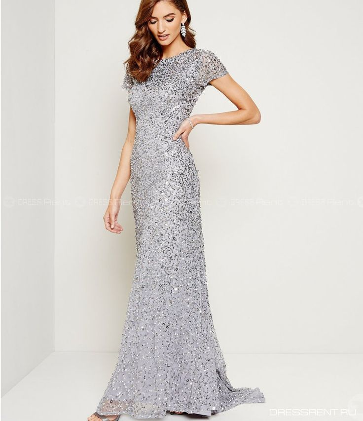 Платье - Adrianna Papell    Sequin Gown Silver P