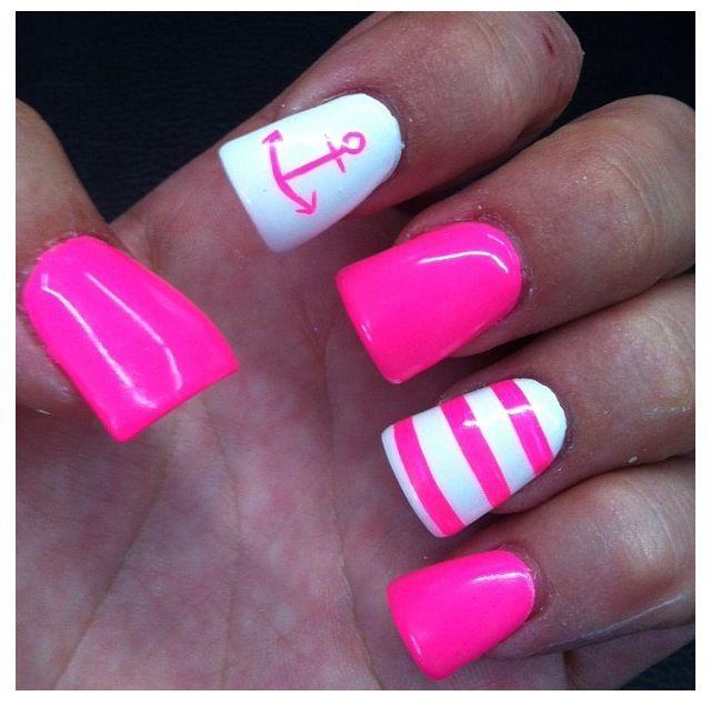 Anchor nail white hot pink nails