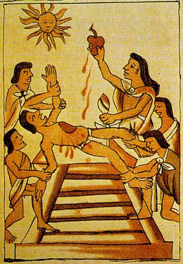 Aztecs human sacrifice. The heart looks similar to the sacred heart.