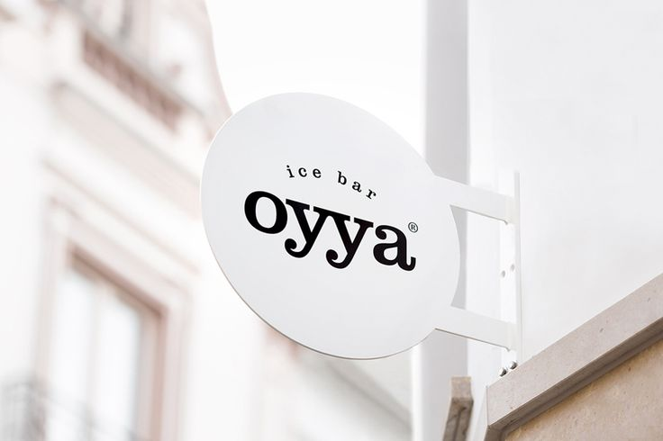 Logotype and signage for Bruges ice bar Oyya designed by Skinn.