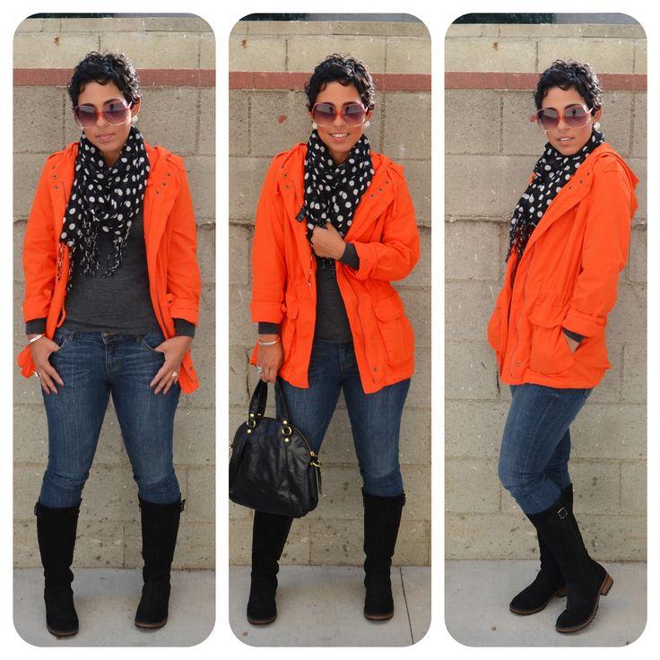 Orange hooded jacket & polka dot scarf via mimi g.