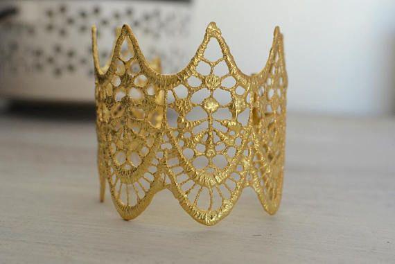 Wide Gold tribal bracelet Gold bracelet Gold lace cuff Gold
