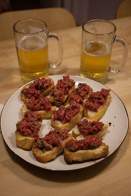 steak tar tar on croutons ** from the chez panisse cafe cookbook