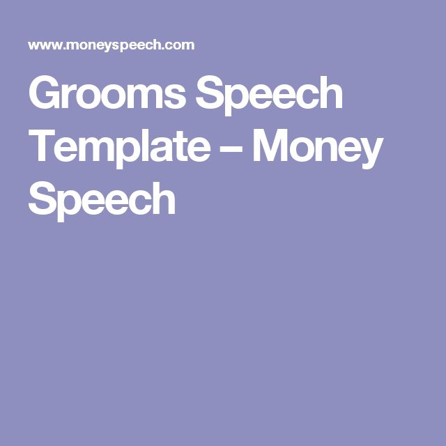 Grooms Speech Template – Money Speech