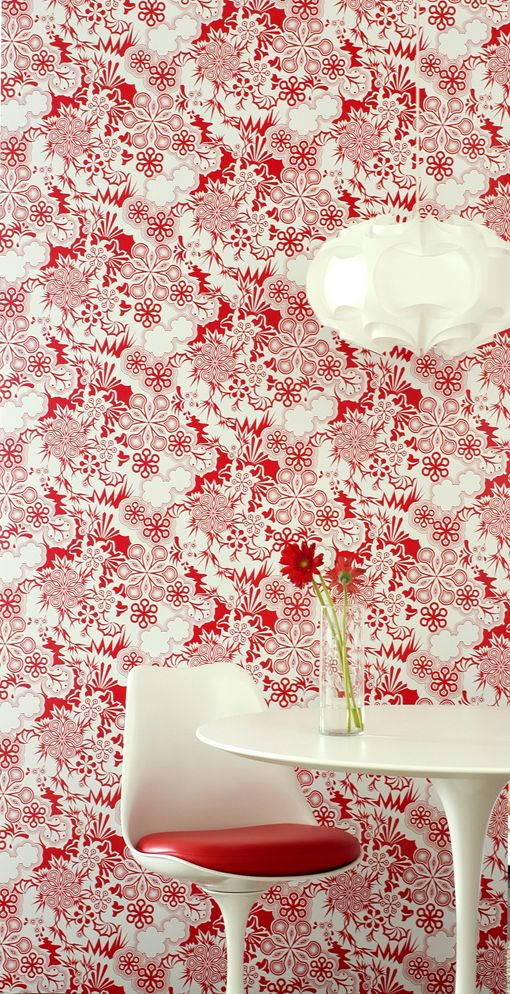 LOVE this wall paper.  The red and white would really tie in the Dining and Living rooms.