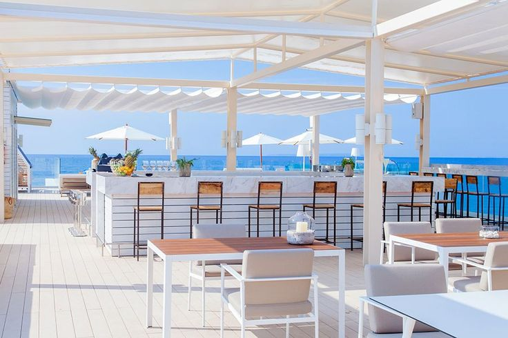 At the just-opened oceanfront ME Ibiza resort—on the party-ready Spanish island from which it takes its name—the simply named alfresco The Rooftop bar impresses with sweeping Mediterranean Sea views.