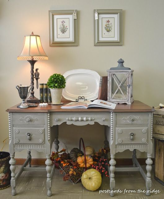 Gray Painted Antique Desk in Gray - Grey, with Beauitful Wood Stained Top