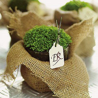 Irish moss in burlapPlants Can, Wedding Inspiration, Wedding Favors, Place Cards, Inspiration Boards, Burlap Sack, Parties Favors, Wedding Planners, Places Cards