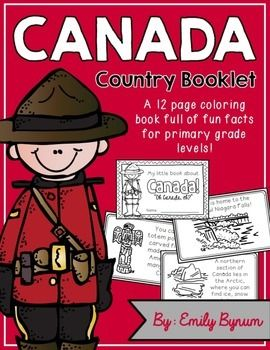 """This """"All About Canada"""" booklet can be used for a very basic country study in lower elementary grades! Each page contains a basic fact and related illustration. All graphics are in an outline format so that it's ready to be colored like a mini-coloring book.This coloring booklet gives all the general/basic information about Canada, including:-geography-Canadian flag-Niagara Falls-common animals-most popular sport-Mounties-the Arctic section-Head of State-Totem Poles-blank page for favorite…"""