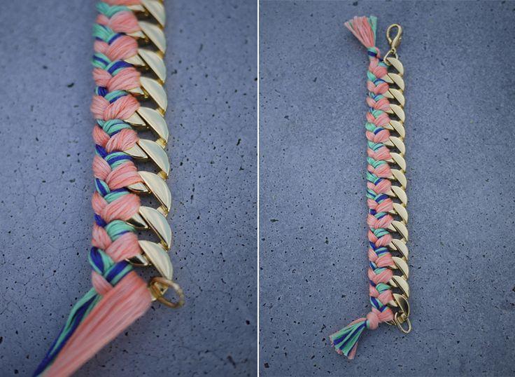 woven chain braceletWoven Chains, Fashion Crafts, Art Crafts, Chains Bracelets, Diy Art, Diy Jewelry, Braids Bracelets, Diy Bracelets, Friendship Bracelets