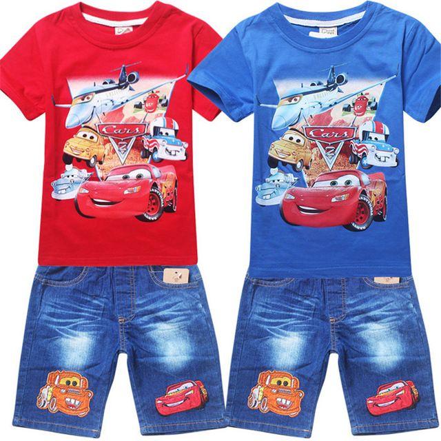 2016 new fashion auto pixar aerei vestiti di estate capretti del bambino dei ragazzi t-shirt pantaloncini di jeans vestito spedizione gratuita