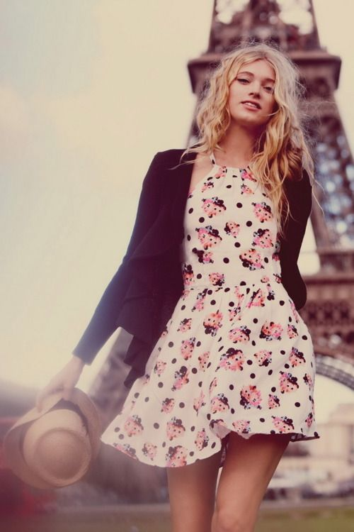 Fashion, flowery dress. Download the #FashEngage iPhone App in the iTunes App Store!