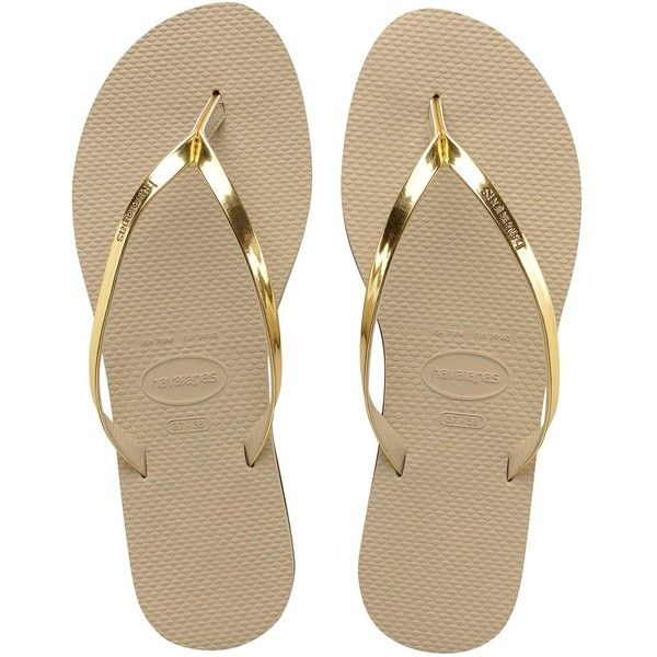 Havaianas You Metallic Flip Flop Sandal ($35) ❤ liked on Polyvore featuring shoes, sandals, flip flops, havaianas sandals, metallic sandals, havaianas shoes, metallic flip flops and metallic shoes