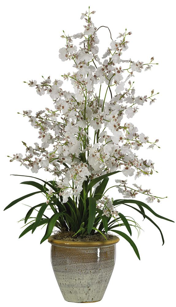 Nearly Natural Triple Dancing Lady Silk Orchid Arrangement in White & Reviews | Wayfair