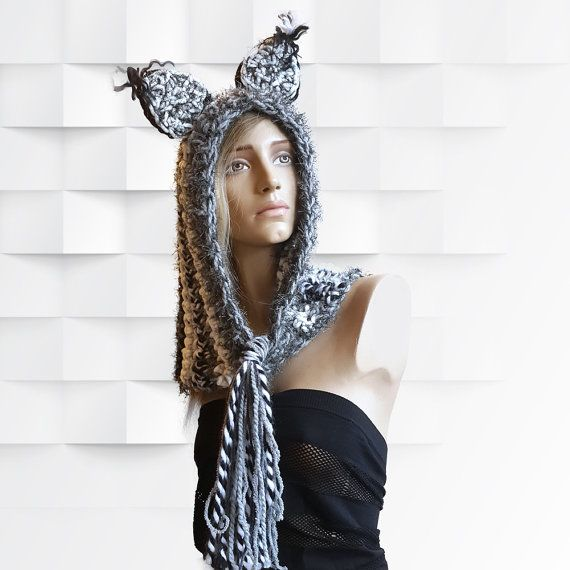 Cat Hat Set : with Gloves Seven Shades of Gray by SimArtShop