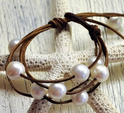 Caribbean Destination Wedding Blog: Pearl & Leather Jewelry