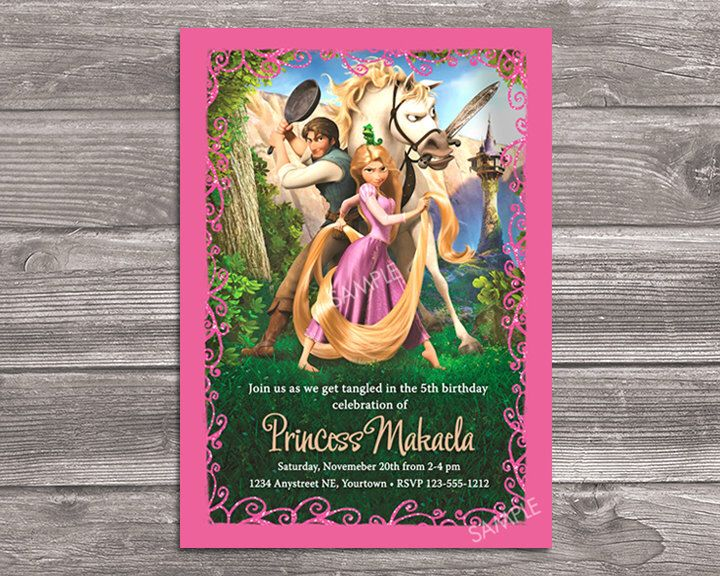 Rapunzel Invitation for Birthday Party - Tangled Invite - Printable Digital File by WonderAndWishes on Etsy https://www.etsy.com/listing/211368045/rapunzel-invitation-for-birthday-party
