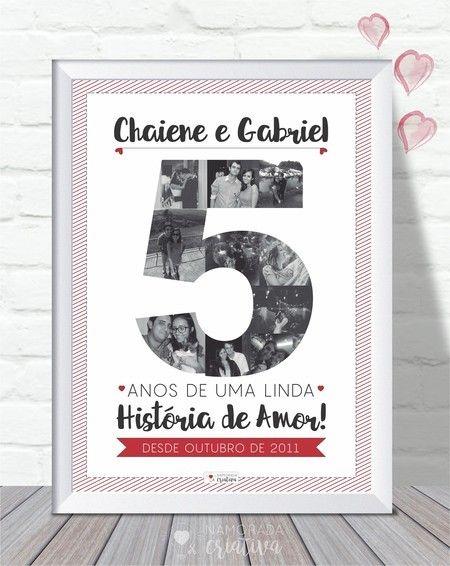 Aniversário de Namoro - Uma ótima opção para comemorar todo o tempo junto com o seu amor! Um quadro com as fotos dos melhores momentos vividos a dois.