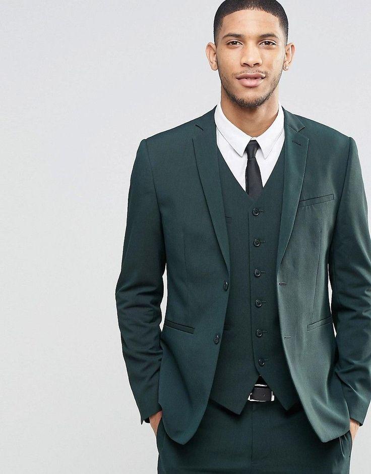 ASOS - Schmale Anzugjacke mit Stretchanteil in Dunkelgrün - Grün - Farbe:Grün