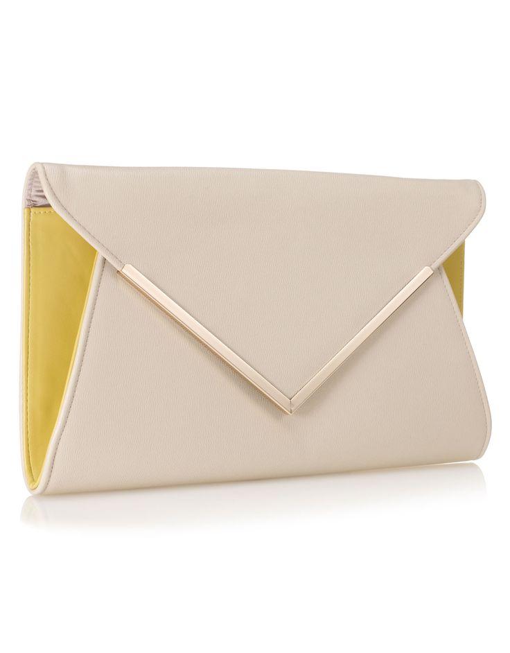 Клатч-конверт в стиле Colour Block   Желтый   Accessorize