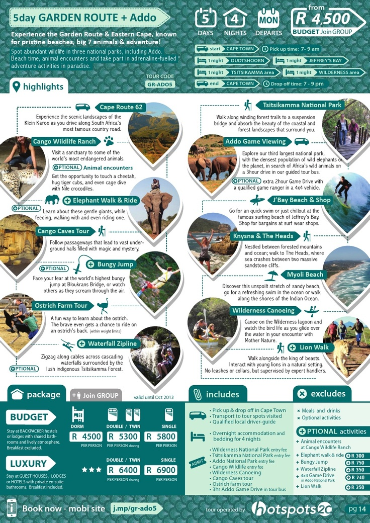 If anyone decides to go to Cape Town I would suggest this tour. Everything there is to see, you will see! Also I would recommend doing all the crazy extra activities such as bungee jumping. Eeek   I can't wait :)