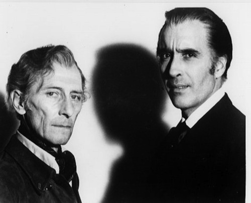 Peter Cushing and Christopher Lee, as Lorrimer van Helsing and Count Dracula, in Dracula A.D. 1972 (1972)