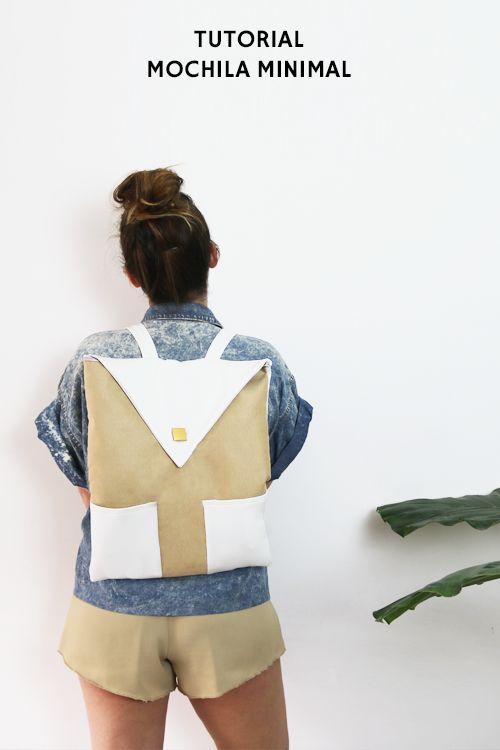 Tutorial con el paso a paso para crear esta mochila minimal + consejos sobre cómo coser polipiel + sorteo en instagram