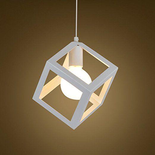EST007® Nordic creativo battuto lampadario in ferro moderno e minimalista ristorante camera da letto bar caffetteria vento industriale lampadario personalità (bianco)