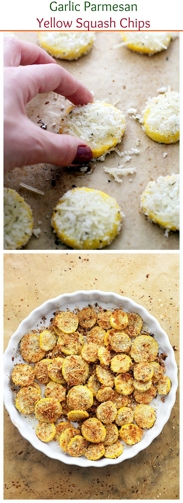 Garlic Parmesan Yellow Squash Chips - A healthy snack that is incredibly flavorful, crispy, and absolutely delicious!