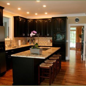 Beige Kitchen Cabinets With Black Appliances